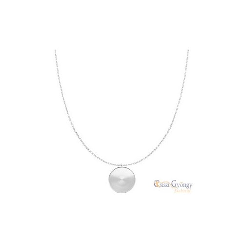 Polaris Steel Necklace with 20 mm cabochon Setting - 1 pcs. - silver color, stainless steel, 45 cm long