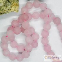 Natural Rose Quartz, Frosted - 1 pcs. - 8 mm, Hole: ca. 1 mm