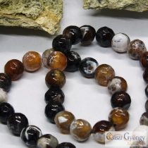 Natural Fire Agate Beads - 1 pcs. - 8 mm, Faceted Round, Hole is ca. 1 mm