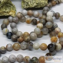 Natural Bamboo Leaf Agate - 1 pcs. - 8 mm Gemstone Bead, Hole: ca. 1 mm