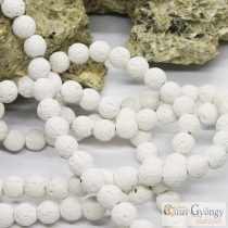 Natural Waxed Lava Beads - 1 pcs. - white, 8 mm