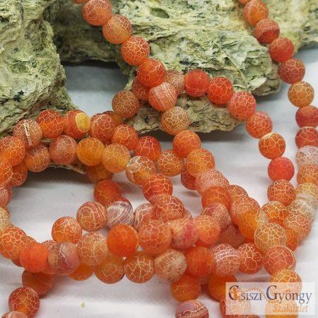 Matt, Tört Achát, narancs színű - 1 db - 8 mm ásványgolyó (préselt)