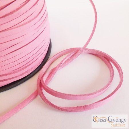Pink - 1 méter - bőr utánzat, 3 mm széles
