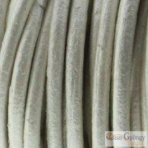 Fényes, ezüstös fehér bőrszál - 50 centiméter - 1 mm vastag, kör keresztmetszetű