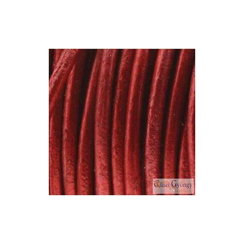 Fényes Vörös - 50 centiméter - 1 mm vastag, kör keresztmetszetű, valódi bőrszál