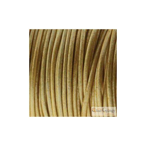 Arany színű valódi bőrszál - 50 centiméter - 1 mm vastag, kör keresztmetszetű