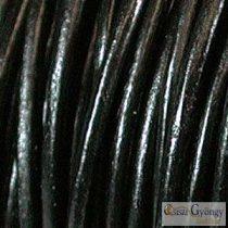 Fekete - 50 centiméter - 1 mm vastag bőrszál, kör keresztmetszetű