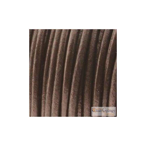 Sötét barna - 50 centiméter - 1 mm vastag bőrszál, kör keresztmetszetű