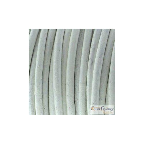Fehér - 50 centiméter - 1 mm vastag bőrszál, kör keresztmetszetű