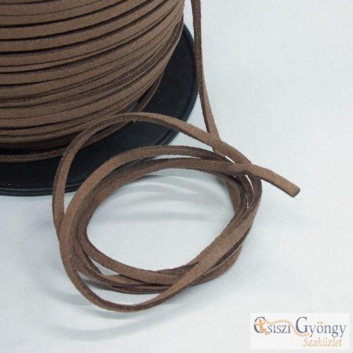 Barna - 1 méter - 3 mm széles velúr hatású bőrutánzat