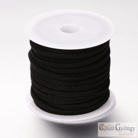 Black - 1 Roll (ca. 5 meter) - 3 mm Faux Suede Cord