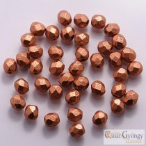 Matte Metallic Copper - 50 db - 3 mm csiszolt gyöngy (K0177JT)