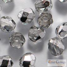 Silver 1/2 Crystal - 40 db - 4 mm csiszolt üveggyöngy (S00030)