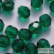 Dark Emerald - 40 db - csiszolt gyöngy 4 mm (50740)