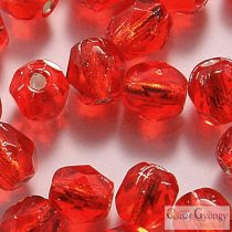 Silver Lined Siam Ruby - 40 pc. - 4 mm Fire-polished Beads (SL90080)