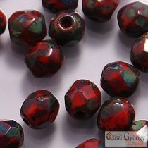 Opaque Red Picasso -40 db - csiszolt gyöngy 4 mm (T93200)