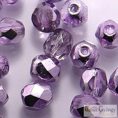 Coated Silver Violet - 40 db - 4 mm csiszolt gyöngy (K2208CR)