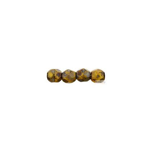 Opaque Yellow Picasso - 40 db - 4 mm csiszolt üveggyöngy (T93110)