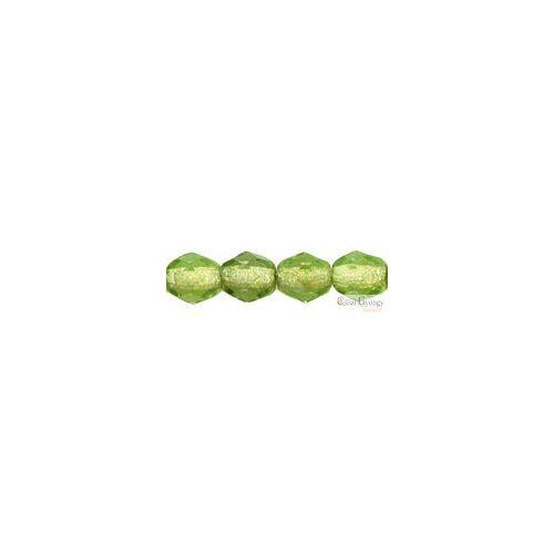 Silver Lined Olivine - 40 db - 4 mm csiszolt gyöngy (SL50230)