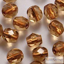 Copper Lined Smoky Topaz - 40 db - csiszolt gyöngy 4 mm (CL10210)
