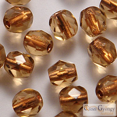 Copper Lined Smoky Topaz - 40 db - csiszolt gyöngy 4 mm (CL10210)