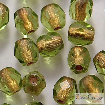 Copper Lined Olivine - 40 db - 4 mm csiszolt gyöngy (CL50230)