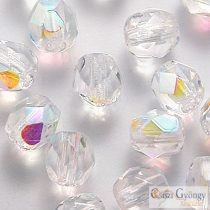 Crystal AB - 20 pc. - 6 mm Fire-polished beads (X00030)