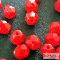Opaque Red - 20 db - csiszolt gyöngy 6 mm (93200)