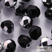 Silver 1/2 Coated Jet - 20 pc. - Fire-polished Beads 6 mm (S23980)