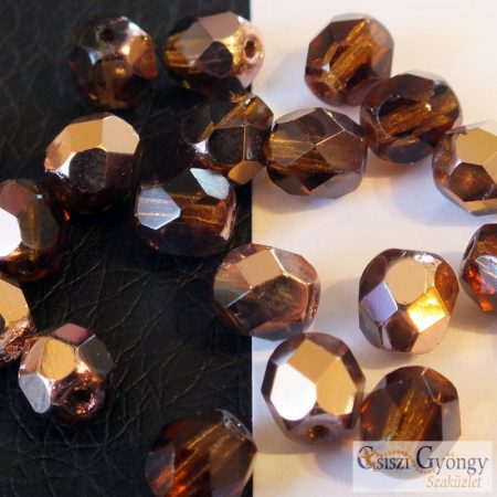 Copper Smoky Topaz - 20 db - 6 mm csiszolt gyöngy (C10230)