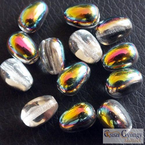 Crystal Vitrail - 1 db - hosszában fúrt csepp gyöngy, 11x8 mm