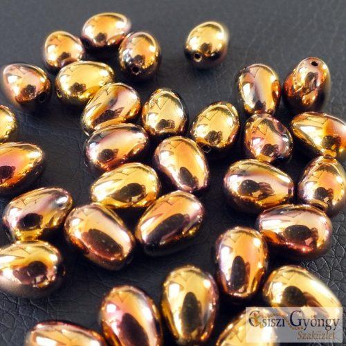 Rose/Gold - 1 db - csepp gyöngy, hosszában fúrt, méret: 11x8 mm