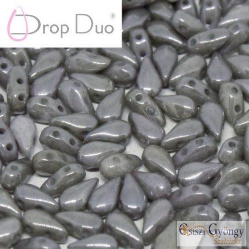 Luster Grey - 20 db - DropDuo gyöngy, 3x6 mm
