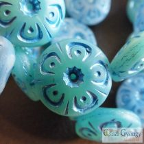 Turquoise Flower Disk - 1 pc. - Czech Glassbead, size: 18 mm
