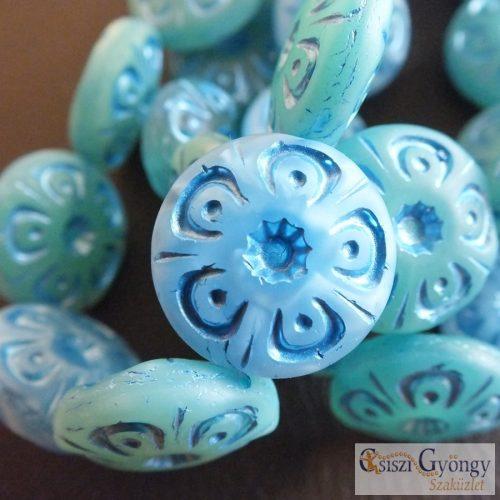 Kék Türkiz Virágmintás Korong - 1 pcs. - 18 mm cseh, üveggyöngy