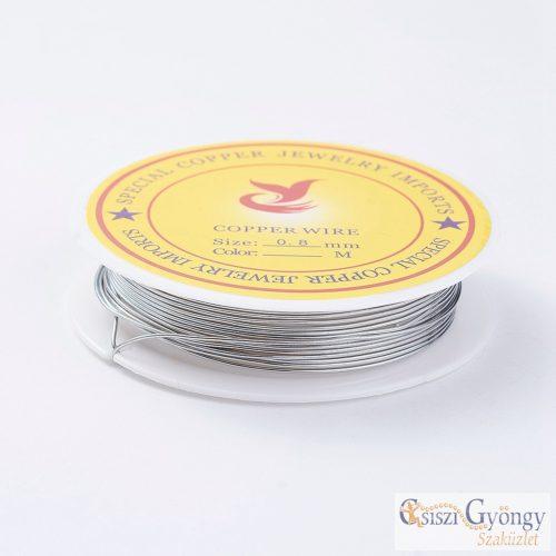 Natúr ezüst színű ékszerdrót - 1 tekercs (3 méter) - méret: 0.8 mm
