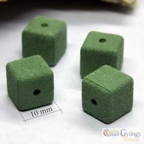 Handmade Square - 1 pcs. - olivine green, size: 10x10x10mm, Hole: 1 mm