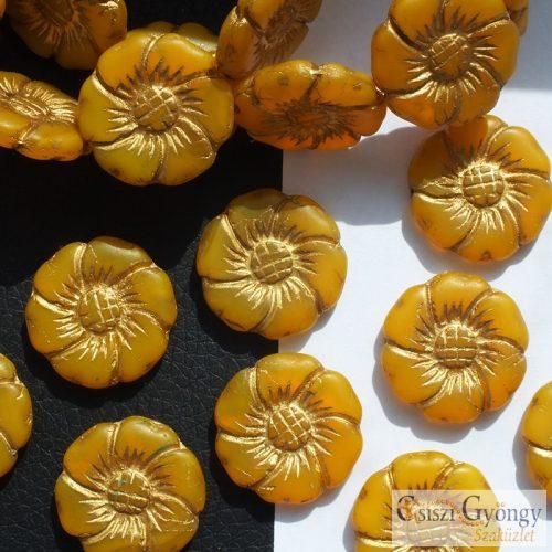 Virág mustársárga/bronz - 1 db - cseh üveggyöngy, mérete: 22 mm