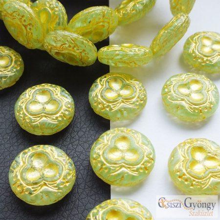 Lime/arany mintás korong - 1 db - cseh üveggyöngy, mérete: 18 mm