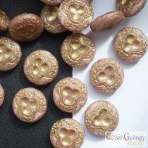 Petunia/bronze Vintage Bead - 1 pcs. - Czech glass bead, size: 18 mm