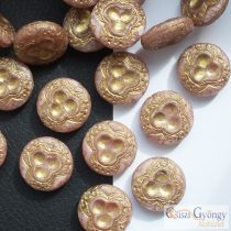Petunia/bronze Vintage Bead - 1 pcs. - Czech glass bead, size: 18 mm