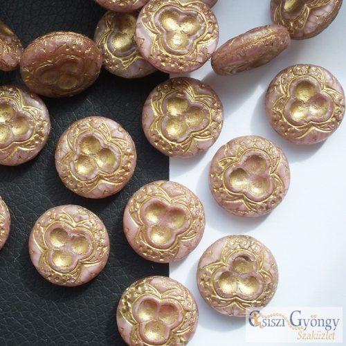 Mályva/bronz színű korong - 1 db - cseh üveggyöngy, mérete: 18 mm