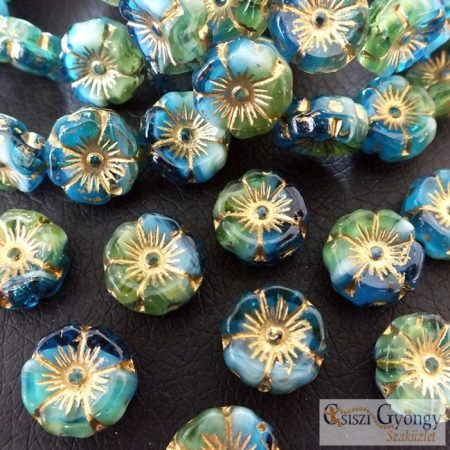 Kék/Zöld virág - 1 db - cseh üveggyöngy, mérete: 12 mm