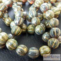 Zöld márvány - 1 db - cseh, üveg Melon gyöngy, mérete: 8 mm