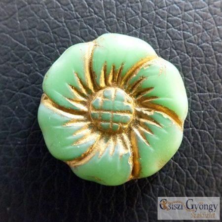 Zöld Türkiz/Bronz Virág - 1 db - cseh üveggyöngy, mérete: 22 mm