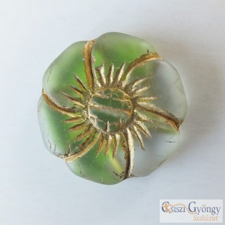 Zöld/Kristály/Bronz Virág - 1 db - cseh üveggyöngy, mérete: 22 mm