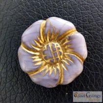 Lila/bronz Virág - 1 db - cseh üveggyöngy, mérete: 22 mm