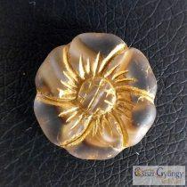 Crystal/Brown/bronze Flower - 1 pcs. - Czech Glass Bead, size: 22 mm