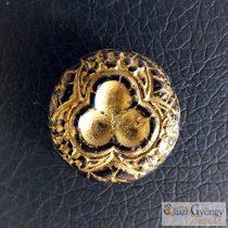 Black/Bronze Disk - 1 pcs. - Czech Glass Bead, size: 18 mm
