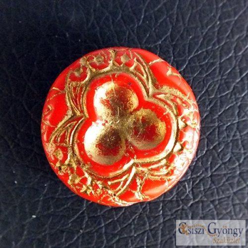 Piros/bronz Korong - 1 db - cseh üveg formagyöngy, mérete: 18 mm
